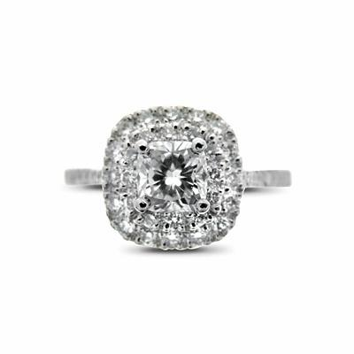 Cushion Cut Double Cluster Ring 1.01ct